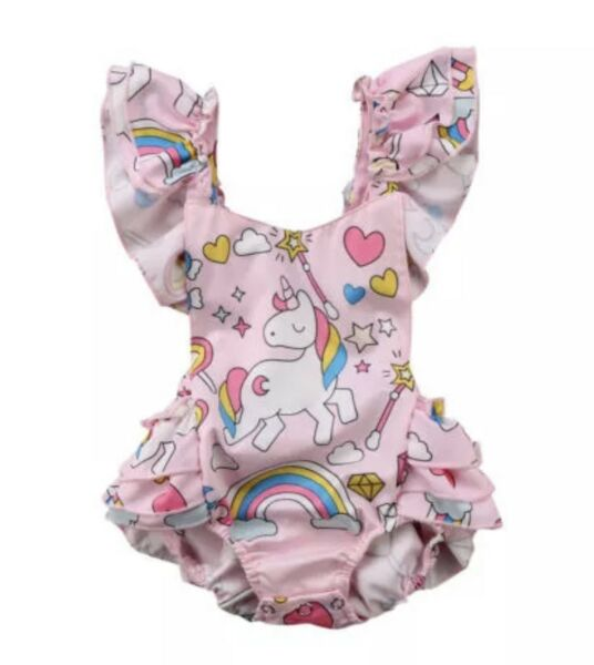 Kid Baby Girls Backless Unicorn Ruffle Romper Jumpsuit Summer Cotton Clothes