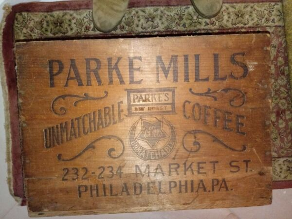 Antique Coffee Wood Shipping Crate Vintage philadelpha Parke Mills co Two sided