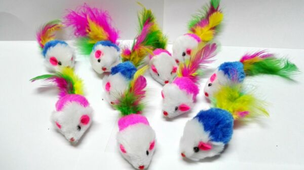 Fur Mice Cat Toys Soft and Durable for Play Catnip Mice for kittens. 10 $5.99