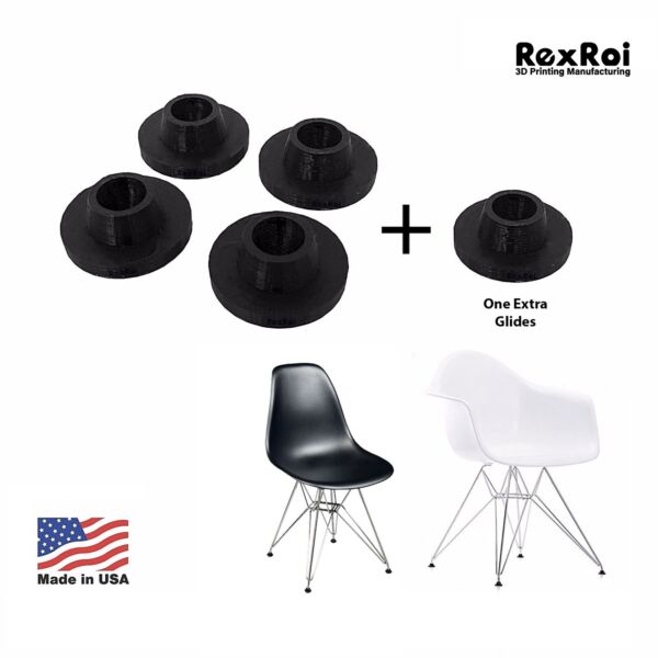 4 Chair Glides Replacement of Eames Eiffel Style Furniture Feet $9.99