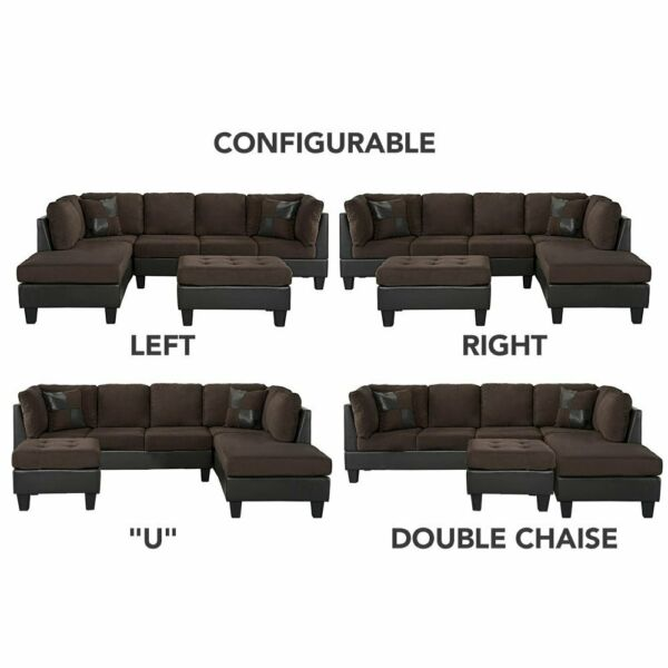 Classic Living Room Microfiber/Faux Leather 3-Piece Sectional Sofa Set, Brown