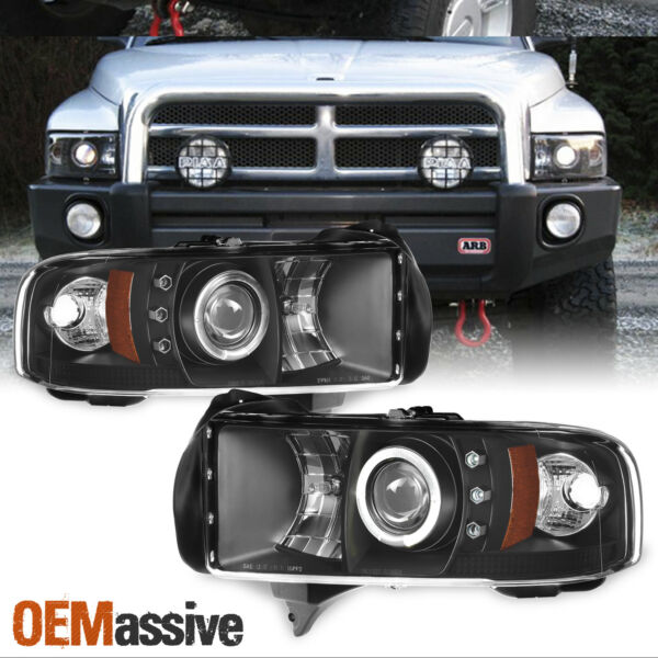 Fits 94-01 Ram 1500 94-02 Ram 25003500 Black Bezel Halo Projector Headlights