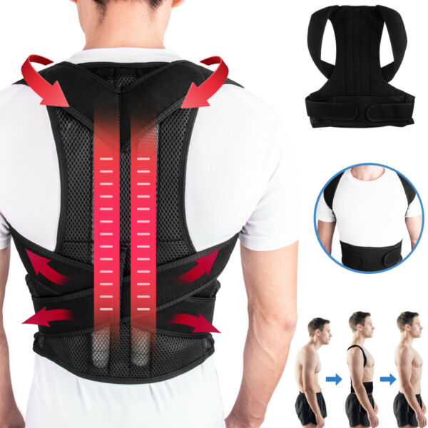 Adjustable Posture Corrector Back Brace Lumbar Shoulder Support Belt Men Women
