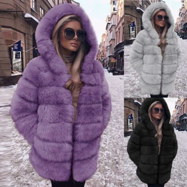 Women Fashion Luxury Faux Fur Long Sleeve Loose Hooded Coat Winter Warm Overcoat
