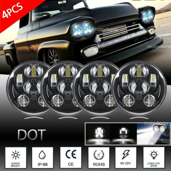 4pc 5.75 5 34 Round LED Headlights Projector H4 Assembly Conversion HI-LO Beam