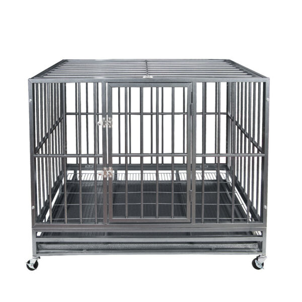 47quot; Gray Heavy Duty Dog Cage Strong Metal Crate Kennel Playpen w Wheelsamp;Tray