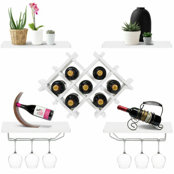 Set of 5 Wall Mount Wine Rack Set w Glass Holder and Storage Shelves White