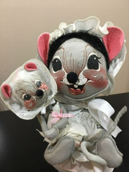 ANNALEE mouse mom and baby doll set