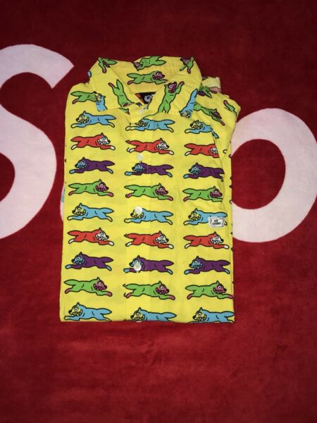 Billionaire boys club Bbc Button Up Shirt yellow red ice cream running dog green