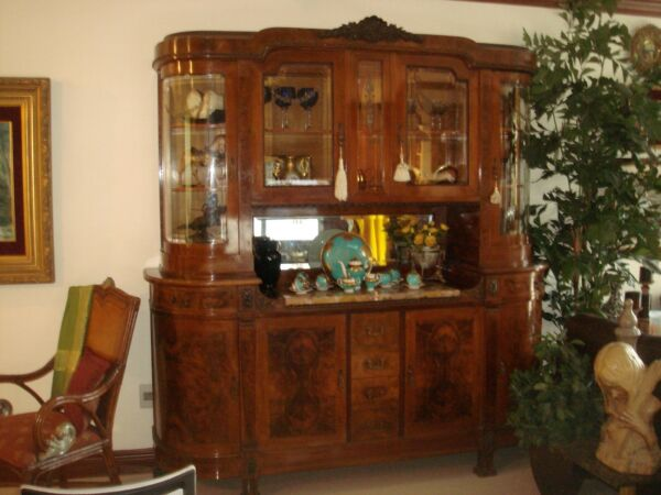 Italian Bevel Walnut Hutch w Curved Etched Glass Cabinets Early 1900's Imported