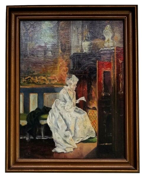 Antique Impressionist OC Painting Victorian Woman Seated by a Fireplace Signed