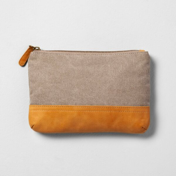 NWT Hearth & Hand With Magnolia Canvas & Leather Cosmetic Clutch Bag ~ Gray