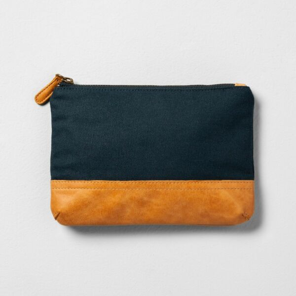 NWT Hearth & Hand With Magnolia Canvas & Leather Cosmetic Clutch Bag ~ Navy Blue