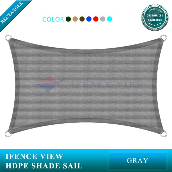 Ifenceview Grey 22'x22'-22'x44' Rectangle Sun Shade Sail Patio Canopy Awning
