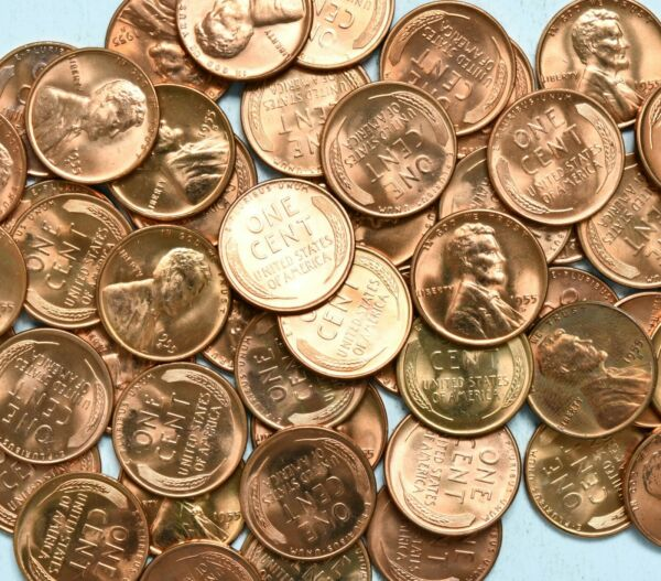 1955 S BU RED Roll Of 50 Lincoln Wheat Pennies