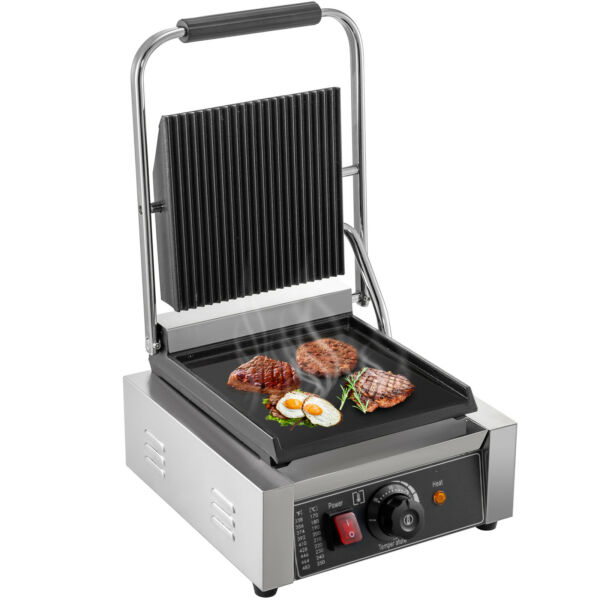 Commercial Electric Contact Press Grill Griddle BBQ Panini Sandwich Non-stick