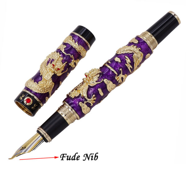 Jinhao Cloisonne Calligraphy Purple Fountain Pen Double Dragon Fude Craft Gift
