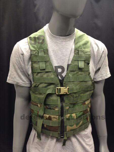 NEW US MILITARY WOODLAND CAMO FIGHTING LOAD CARRIER FLC TACTICAL VEST MOLLE II