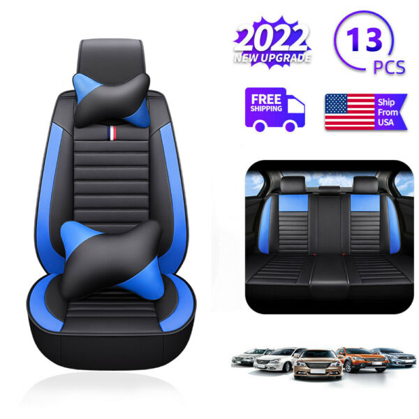 5D Car Seat Covers PU Leather Front Rear Set Universal Car Accessories Interior