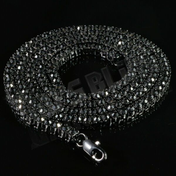 14k Black Gold ICED Bling Out Lab Diamond 1 Row BLACK Chain Icy Tennis Necklace