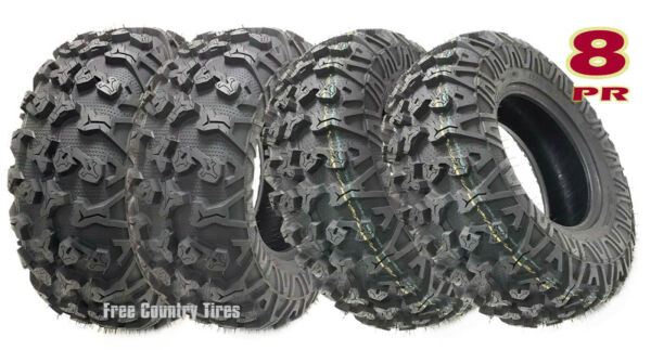 Set 4 Premium Free Country ATVUTV Tires 25x8-12 & 25x10-12 8PR Side Scuff Guard