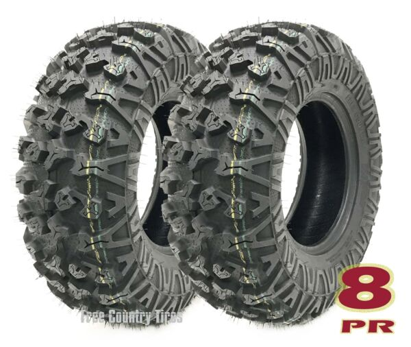 Set 2 Premium Free Country ATVUTV Tires 25x8-12 25x8x12 8PR Side Scuff Guard