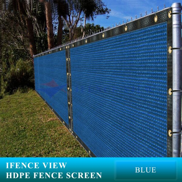 Ifenceview 10'x3'-10'x100' Blue Fence Privacy Screen Mesh Awning Canopy Patio