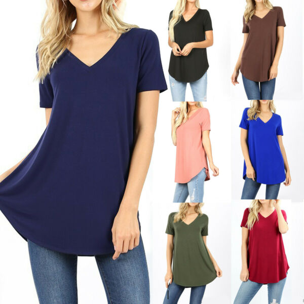 Womens Loose Fit Short Sleeve T-Shirt V-Neck Casual Basic Tunic Top Long Blouse $11.90