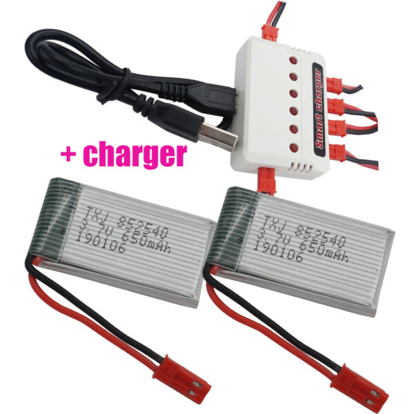 3.7V 650 mAh 25C JST plug Li ion battery+charger 852540 for SYMA Toys RC Drones