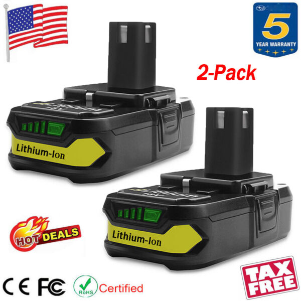 2X For Ryobi One Plus 18V P108 Lithium Ion Battery Replaces P104 P102 P107 P105