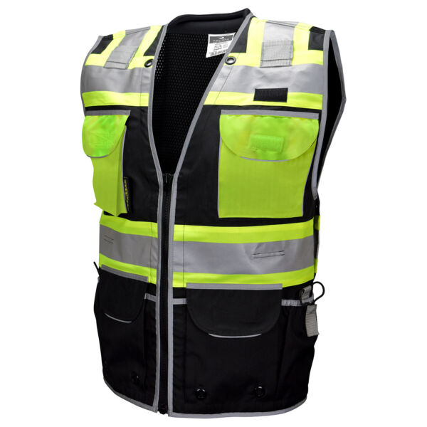 Radians Type O Class 1 Heavy Duty Engineer Safety Vest Black