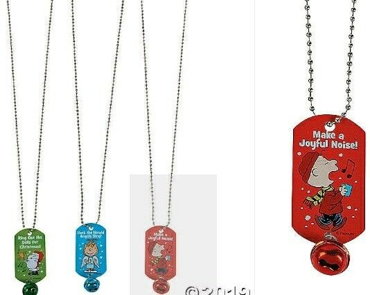 PEANUTS SNOOPY CHARLIE BROWN amp; SALLY CHRISTMAS DOG TAG NECKLACES W BELL SET 3 $7.95