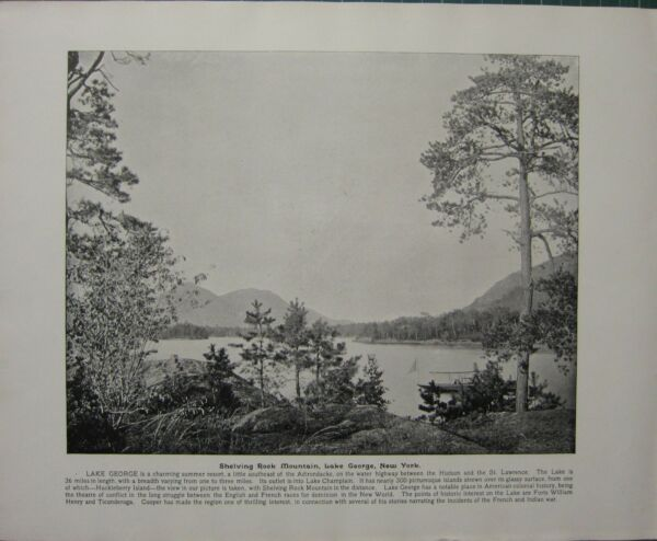 1898 PRINT + TEXT ~ SHELVING ROCK MOUNTAIN LAKE GEORGE NEW YORK