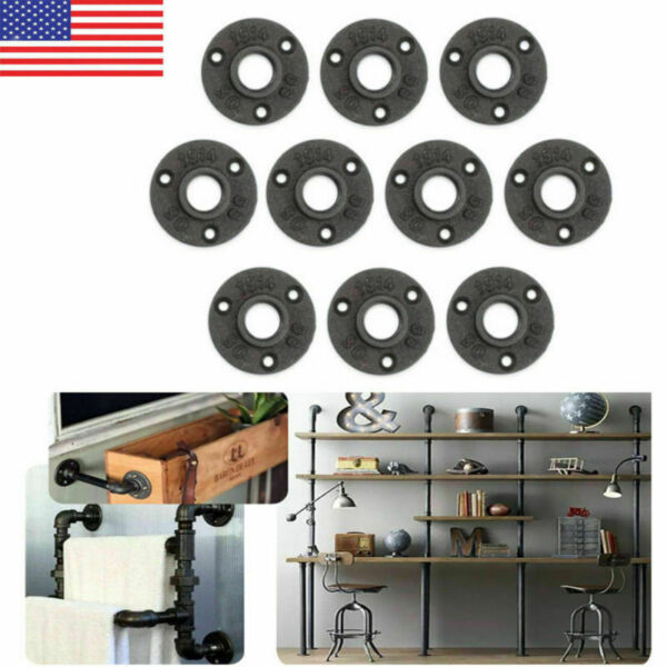 10PCS 12'' Flange Malleable Threaded Iron Pipe Fittings Floor Wall Mount Black