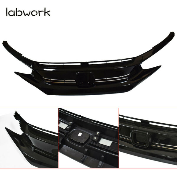 For 2016-2018 Honda Civic Coupe Sedan Black Front Hood Grill Grille Eyelid