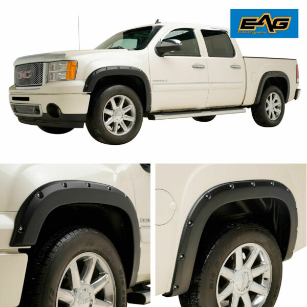 EAG Fit 07-13 GMC Sierra 1500 4pc Pocket Rivet Textured Offroad Fender Flares