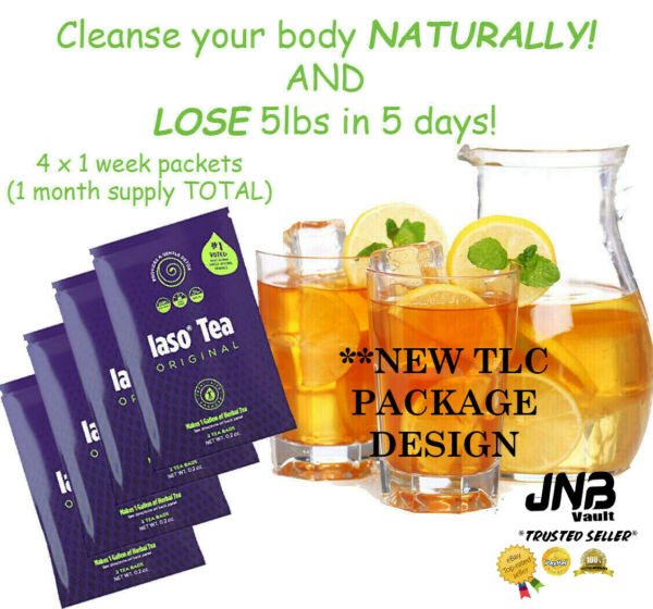 TLC Iaso Tea Natural Cleanse Weight Loss 4x Packets 1 Month Supply NEW PACKAGING $35.00