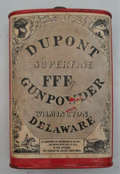 Empty Dupont Oval FFFg Powder Can w1924 Patent. Date Label