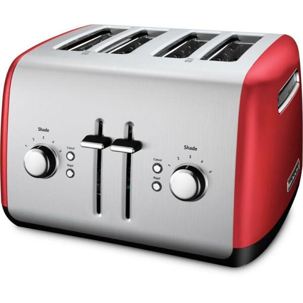 Red and Silver Bagel 4 Slice Toaster Stainless Steel By KitchenAid