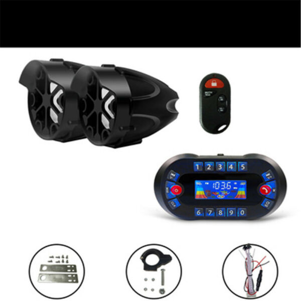 motorcycle Anti Theft Speakers USB Audio System Stereo Bluetooth Motor Remote $68.60