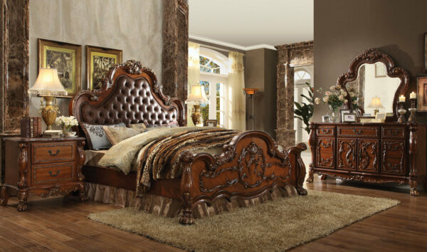 NEW Traditional Brown Bedroom Furniture - PASQUALE 5pc King Faux Leather Bed Set