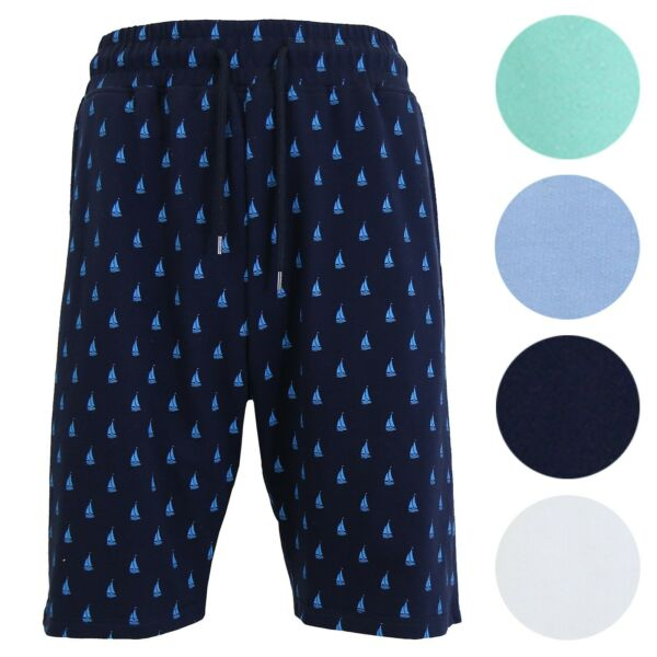 Men's French Terry Printed Shorts W Pockets Fashion Design Sweats Beach NEW