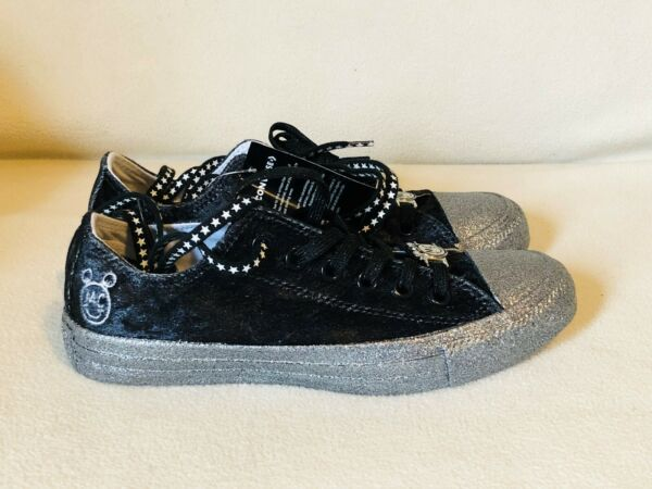 CONVERSE ALL STAR MC BLACK VELVET SILVER SPARKLE SNEAKERS WOMENS SIZE 7 / UK 5