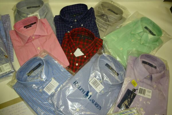 POLO RALPH LAUREN WHOLE SALES LOT MEN BOTTOM DOWN SHIRT NEW 10 ITEM