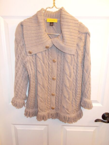 SALE Exquisite Champagne St. John Cable Knit Cardigan Size M