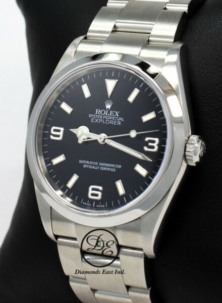 Rolex Explorer I 114270 Stainless Steel Oyster Black Dial Watch PAPERS *MINT*