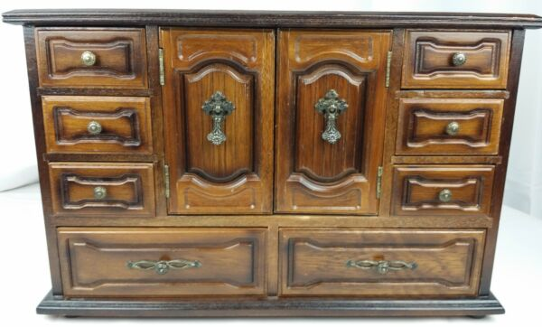 Vintage Ornate Wooden Jewelry Box Armoire-Style 4-Level w Second Inset 3-Level