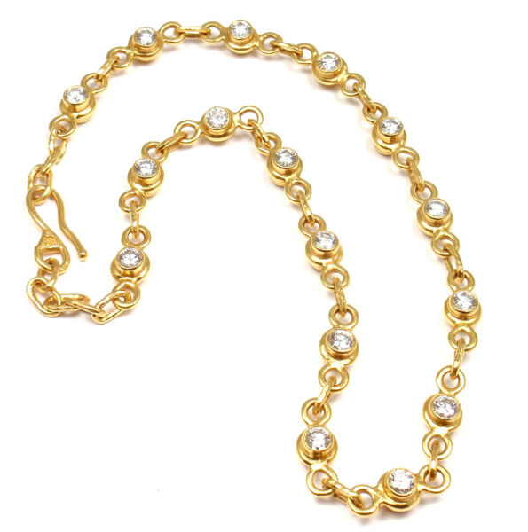 Authentic Jean Mahie 22k Yellow Gold Diamond Yellow Sapphire Reversible Necklace