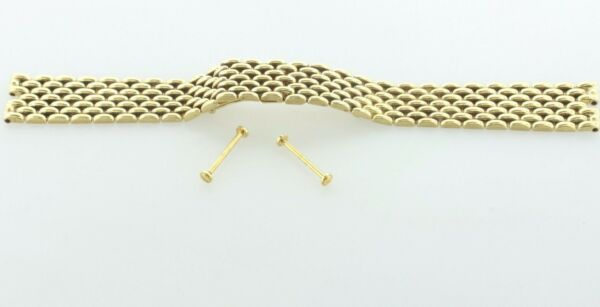 17mm Wide Solid 14K 585 Yellow Gold 7 Row Panther Link Watch Band - 42.3 Grams
