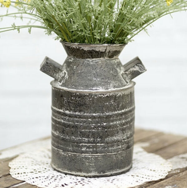 Distress Farmhouse Rustic Metal Farm Jug Vase Pail Container